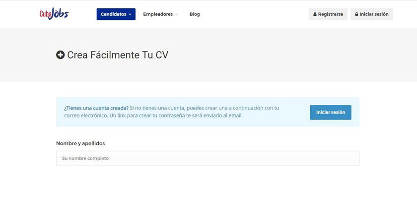 cubajobs cv online